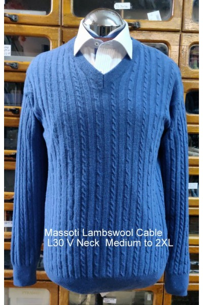 Massoti Knitwear Lambswool Cable V-Neck jumper L30V