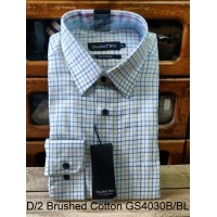 Double Two 100% Brushed Cotton shirt GS4030 A/GR & B/BL