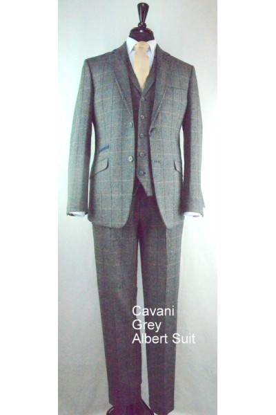 House of Cavani Albert grey tweed look slim fit suit
