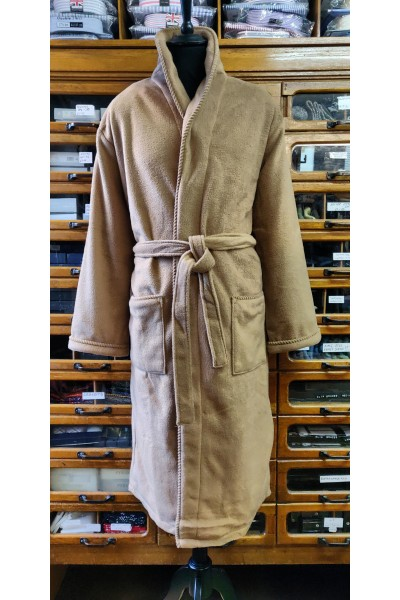 L A Smith Fleece dressing gown Camel