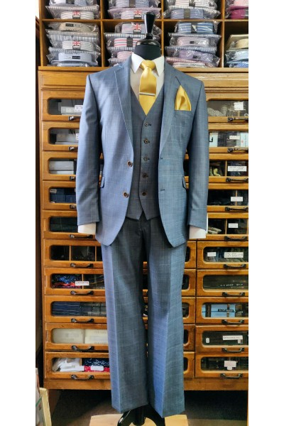 Scott by The Label Classic Fit Suit mix and match Blue with gold over check