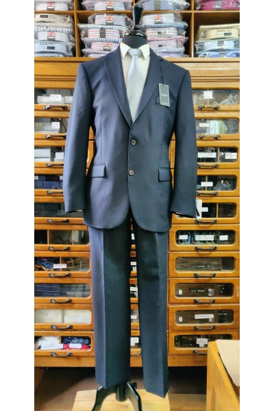 The Label Navy Herringbone pure new wool mix and match suit