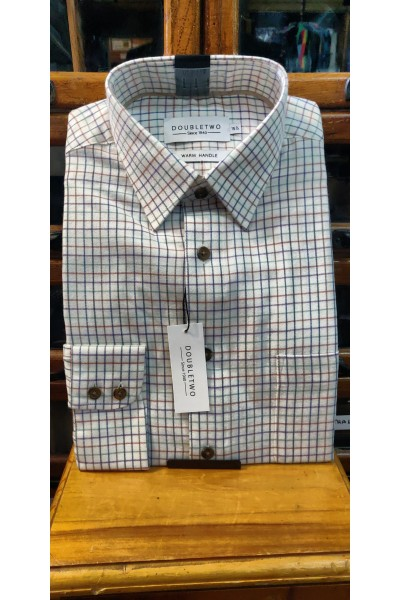 Double Two neat check Brushed Cotton Shirt Grape GS4063/A