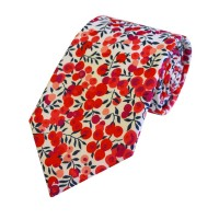 Liberty print cotton tie Berries in 2 colours by LA Smith