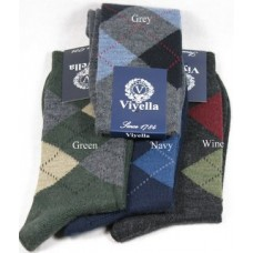 Viyella Wool Rich Argyle ankle length socks