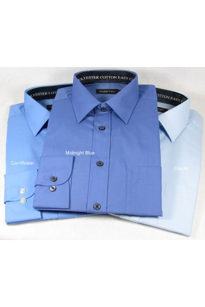 Double Two Plain Polyester and Cotton Shirts